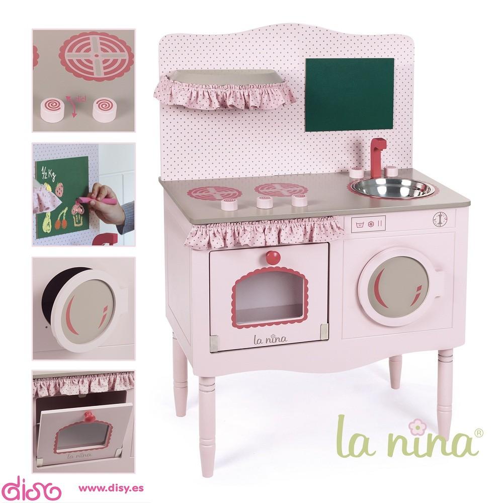 Cocina de madera rosa accesorios para munecas la nina 61561 - Cocinas de ninas ...